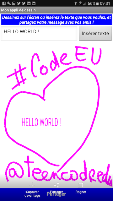 Application Hello World - Atelier Teen-Code CodeWeek 2016