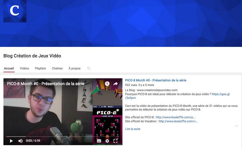 Chaîne YouTube du blog Création de jeux vidéo
