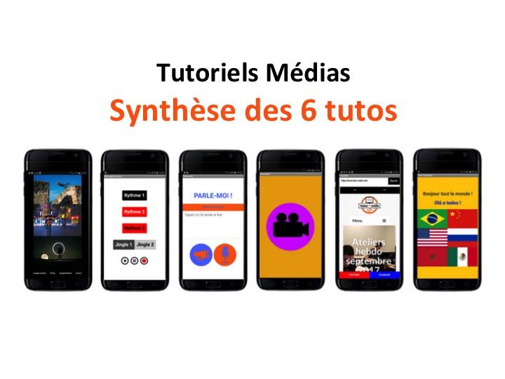 Création d'applications mobiles : synthèse des 6 tutos Médias pour débutants