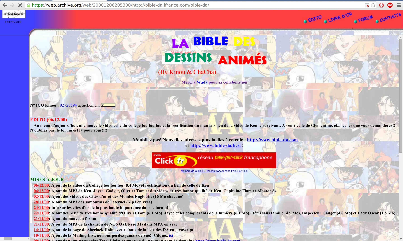 La bible des dessins animés : une précieuse image d'archive, le premier projet informatique public de Vincent Jousse !
