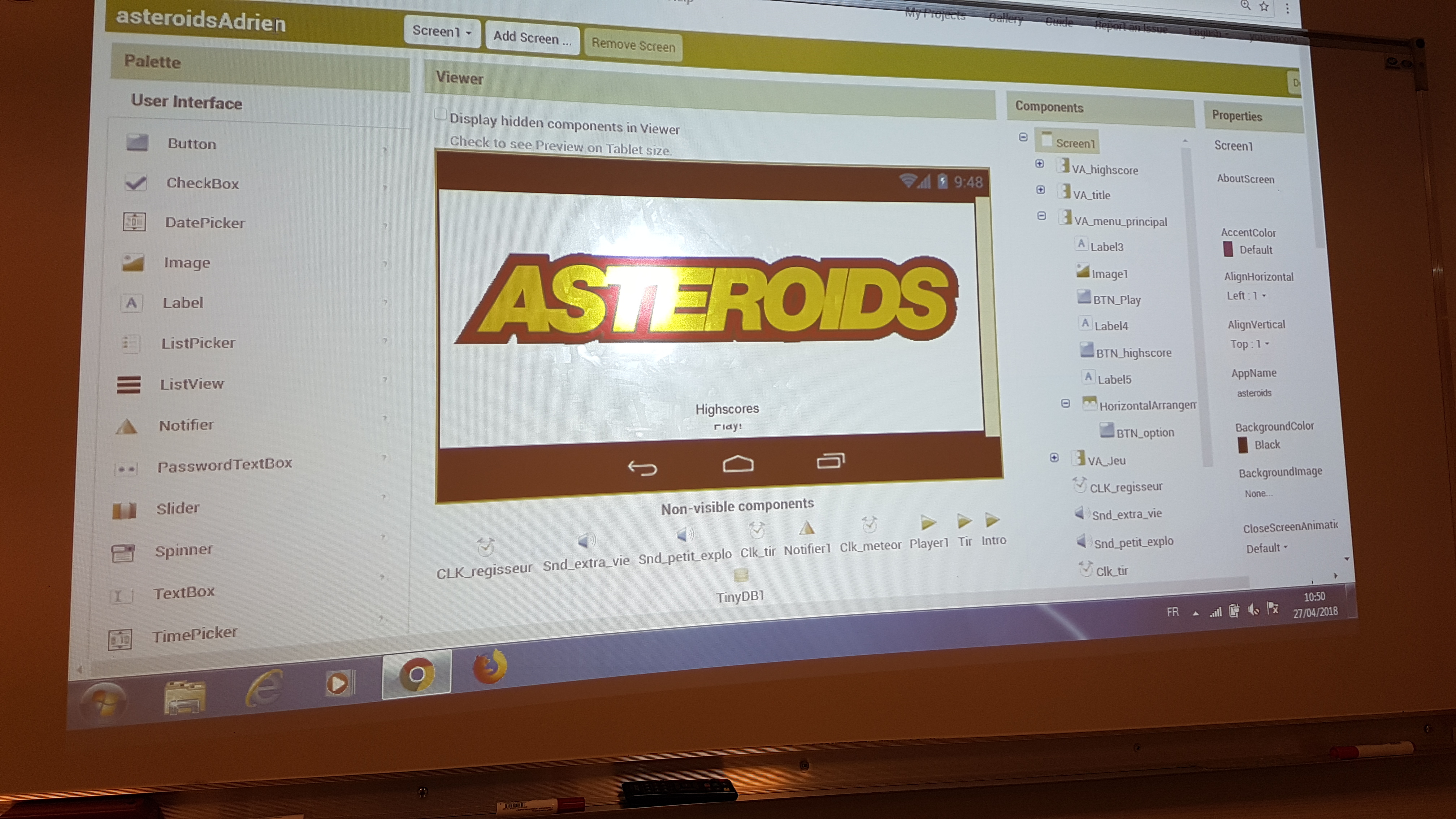 Jeu Asteroids en cours de création